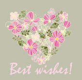 Beautiful card with floral heart — Stockvektor