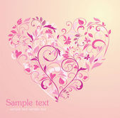 Floral pink heart — Stock Vector