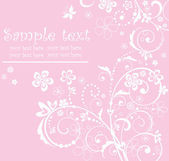 Pink greeting floral card — Cтоковый вектор