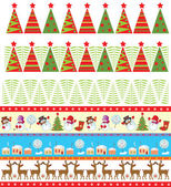 Seamless christmas borders — Stock Vector