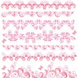 Beautiful pink seamless borders - Stock Vector