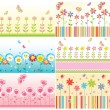 Seamless floral cute borders — Vector de stock