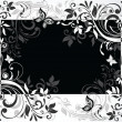 Floral card. Black and white - Stock Vector
