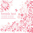Pink floral card - Stok Vektr