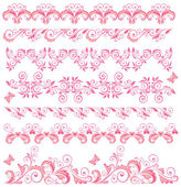 Beautiful pink seamless borders — Stock Vector