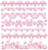 Beautiful pink seamless borders — Stock Vector