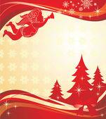 Kerst banner met engel — Stockvector