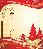 Kerst banner met lantaarn — Stockvector