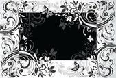 Floral card. Black and white — Stock Vector