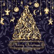 Royalty-Free Stock Vector Image: Christmas card with gold xmas tree