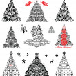 Set of vintage xmas trees — Stock Vector
