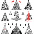 Set of vintage xmas trees — Stock Vector #19942049