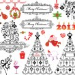 Stock Vector: Xmas vintage set