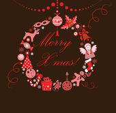 Komik Noel çelenk — Stok Vektör