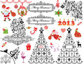 Xmas vintage set — Stock Vector