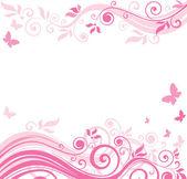 花のピンク色の枠線 — ストックベクタ