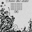 Lacy invitation (black and white) — Stock Vector