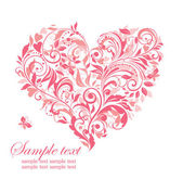 Beautiful greeting card with pink floral heart — Stock Vector