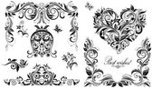Vintage wedding design elements for invitations — Stock Vector