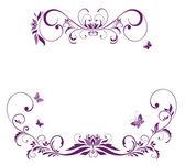 Frontera floral violeta — Vector de stock