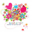 Greeting card with bouquet - Image vectorielle