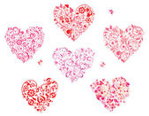Floral greeting heart shapes — Stock Vector