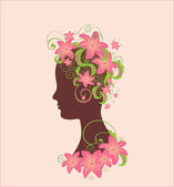 Woman profile with flowers — Stock Vector