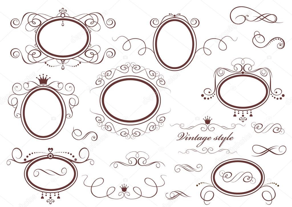 Vintage retro frames  Stock Vector #20032203
