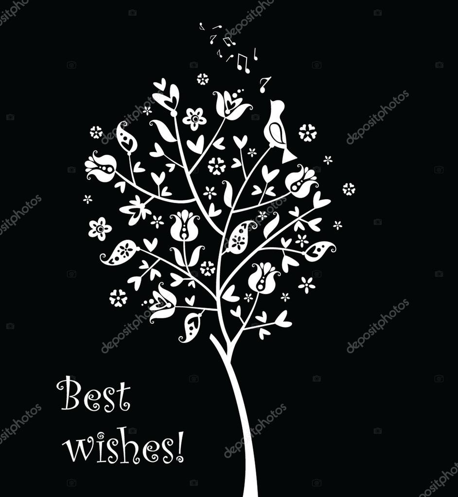 Greeting card with cute tree — Stock Vector #20033805