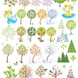 Trees collection — Imagen vectorial
