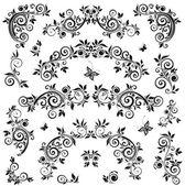 Set of vintage floral design — Stock Vector
