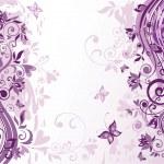 Vintage violet floral card — Stock Vector