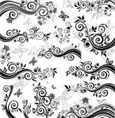 Dekoratif çiçek sınırları — Stok Vektör
