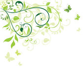 Green floral card — Stock Vector