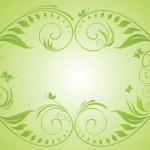 Green vintage floral frame — Stock Vector