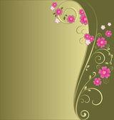 Vintage floral green background — Stock Vector