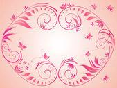 Pink vintage floral frame — Stock Vector