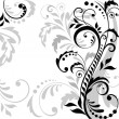 Stock Vector: Floral background (black and white)