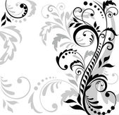 Floral background (black and white) — Stock Vector