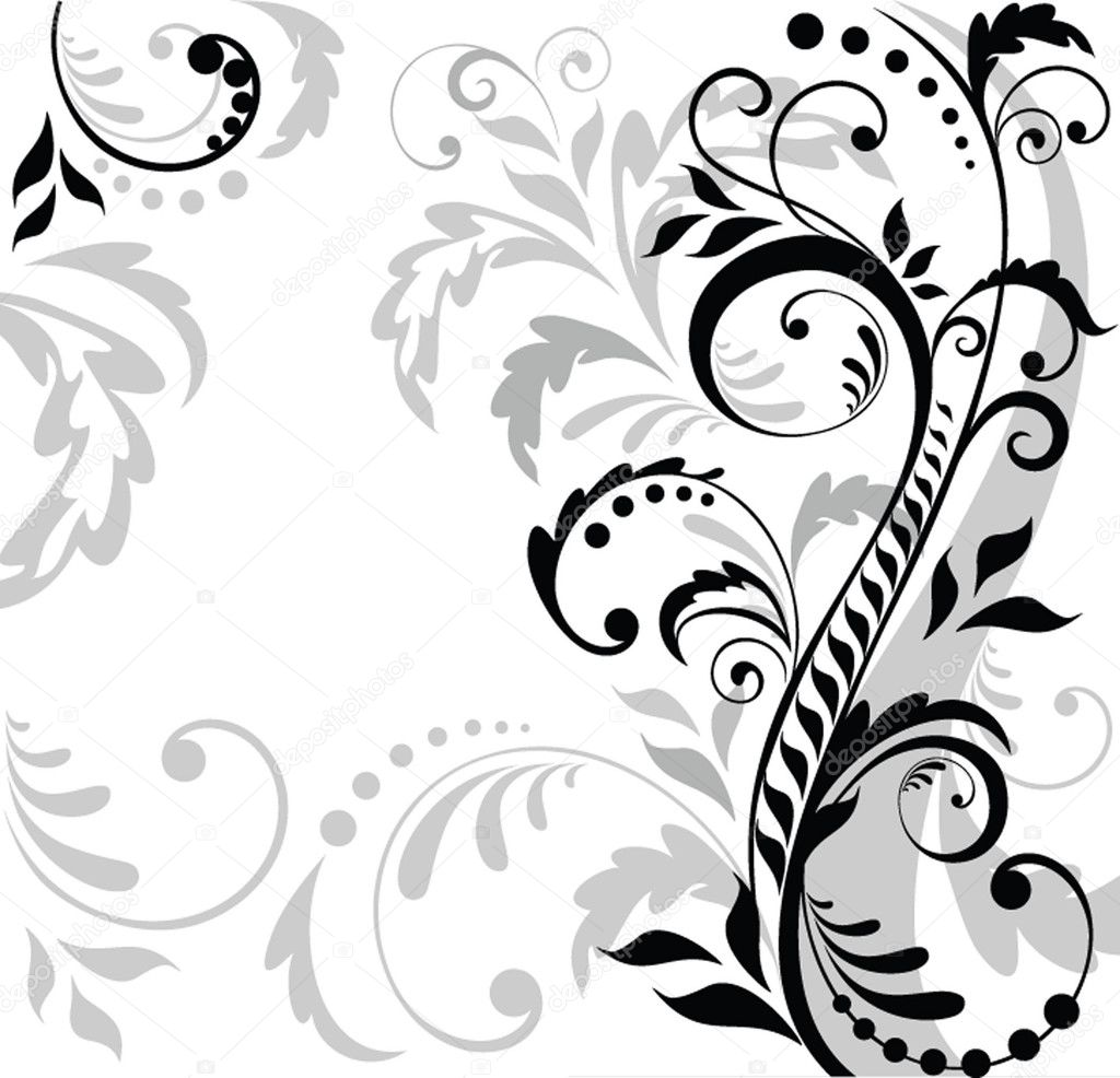 floral background black and white � stock vector