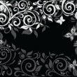 Stock Vector: Floral background. Black and white.