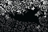 Floral background. Black and white. — Stock Vector
