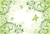 Vintage grön blommig kort — Stockvektor