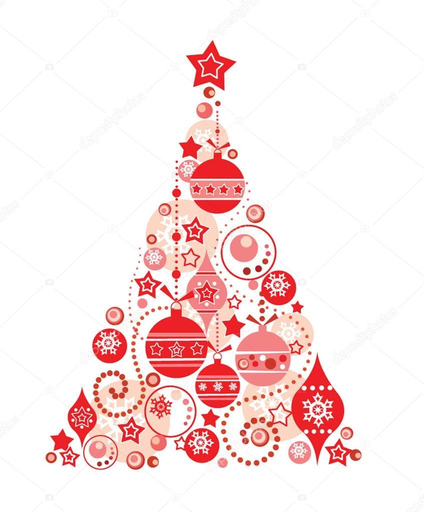 Нарисованная елка для открытки