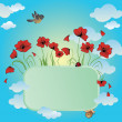 Frame with poppies - Stock Vector