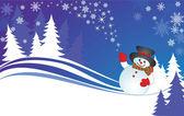 Xmas card with snowman — Stock Vector