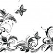 Black and white floral design — Stock Vector