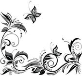 Black and white floral design — Vettoriale Stock
