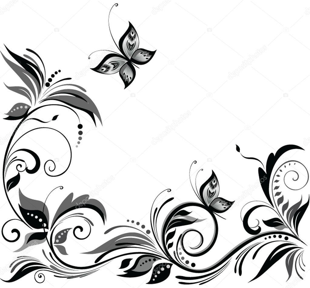 Clipart Black And White Flower Design