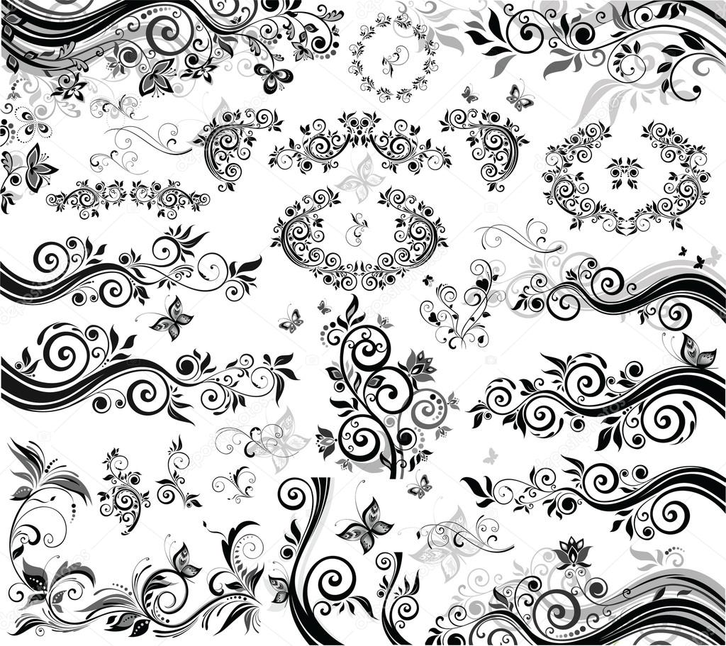 Vintage floral design black and white stock vector antonovaolena 21049477 - Any design using black and white ...